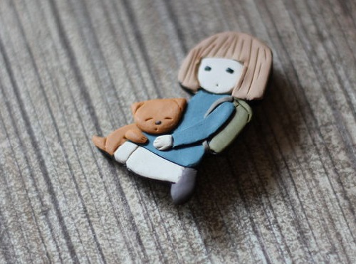A chance meeting. Brooch. Made of polymer clay in the author's technique of patchwork modeling