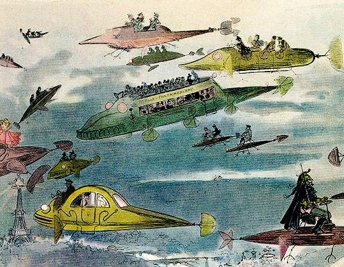 A futuristic view of air traffic in Paris in 2000. Hand colored lithograph. 1882, Washington, Library of Congress. Artist predictor Albert Robida