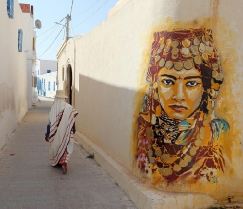 Erriadh Open-Air Street Art museum, Tunisia. Street artist Btoy, Spain