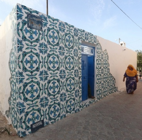 Erriadh Open-Air Street Art museum, Tunisia. Street artist Diogo Machado (Add Fuel), Portugal