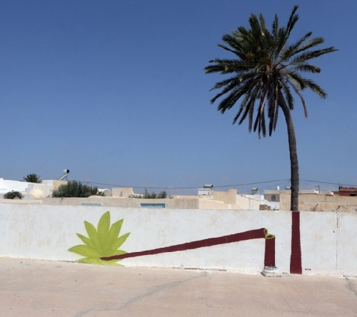 A mural in Erriadh village, Tunisia.