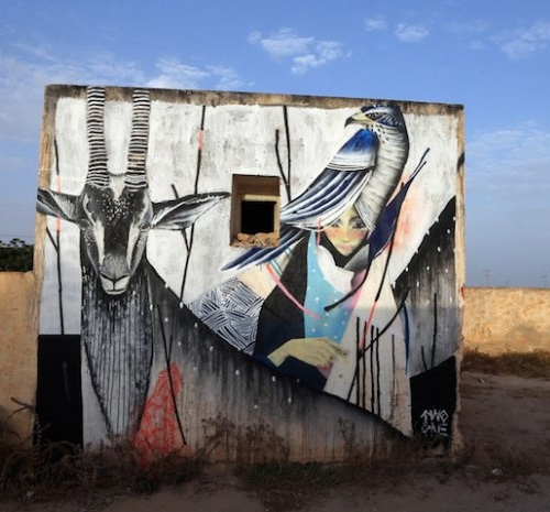 A mural in Erriadh village, Tunisia. Street artist Two One, Japan. Erriadh Open-Air Street Art museum