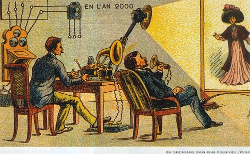 Telephonoscope in 2000. 1883 illustration by French artist predictor Albert Robida