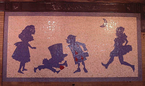 Alice in Wonderland New York Metro mosaics. Alice, Hatter, Cinque