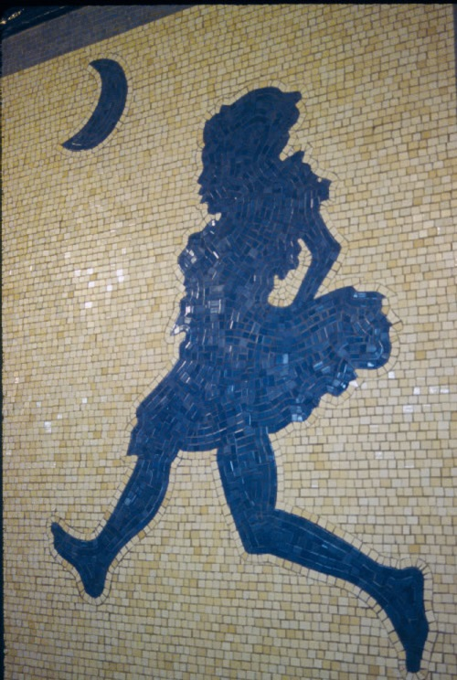 Alice - The Way Out. Mosaic mural by Liliana Porter, NYC Subway, 1994