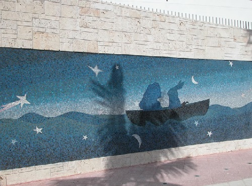 Alice goes back (2005). Mosaic mural. One Miami River Walk