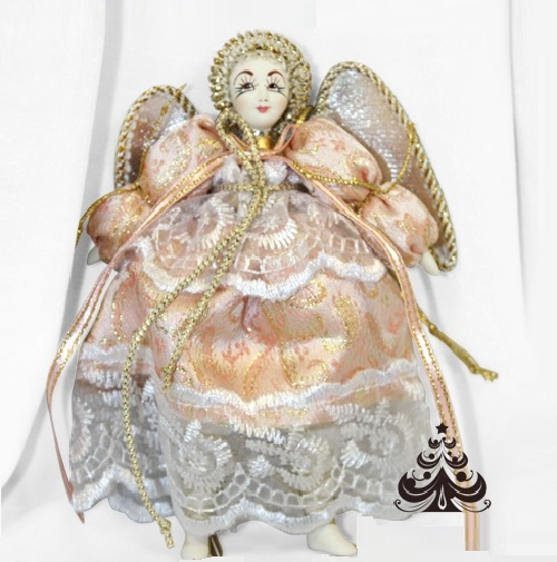 Angel. Christmas handmade decoration with the elements of the porcelain