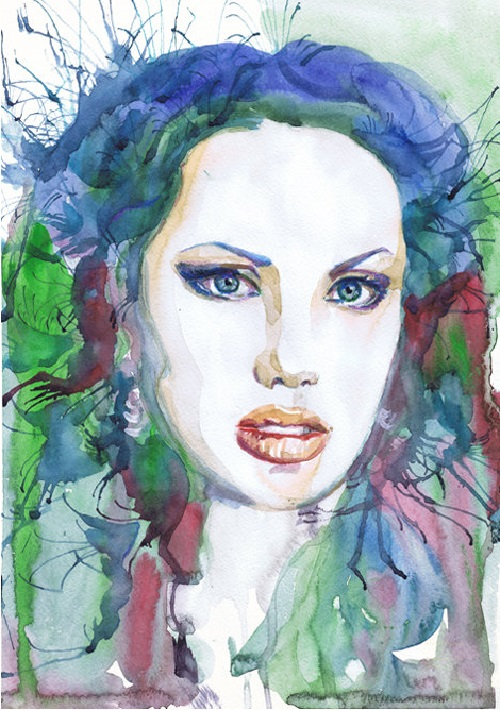 Angelina Jolie. ValrArt watercolor portraits
