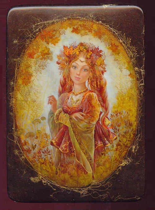 Autumn has come. Lacquer miniature painting 'Fedoskino' by Russian artist Yulia Danilina
