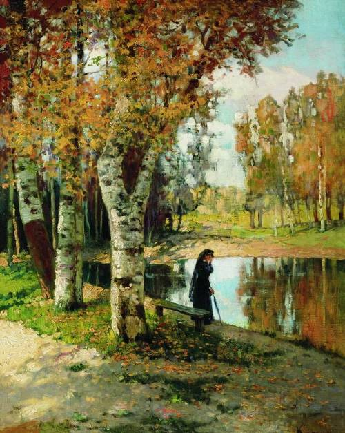 Autumn. Novgorod museum. Painting by Russian landscape painter Konstantin Kryzhitsky