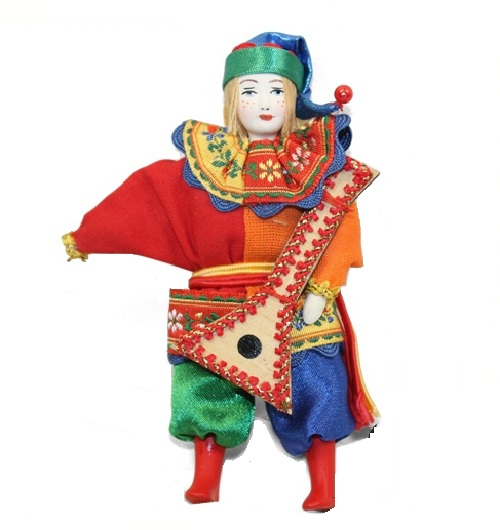 Balalaika player. Christmas handmade decoration with the elements of the porcelain