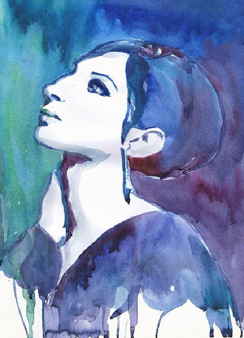 Barbara Streisand. ValrArt watercolor portraits