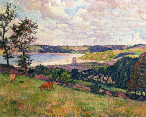 Bay of St. Brelade. Painting by Belgian neo-impressionist painter Theo van Rysselberghe