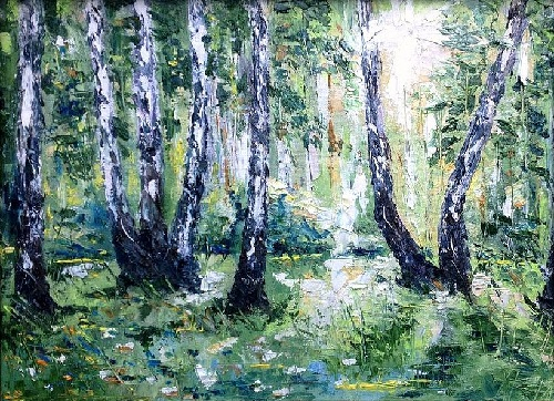 Birch forest. Oil on canvas on cardboard