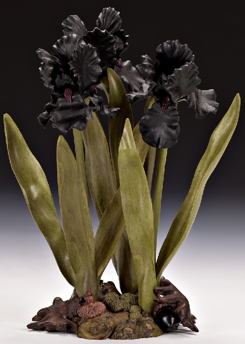 Black Iris. Wood art by Denise Nielsen and George Worthington