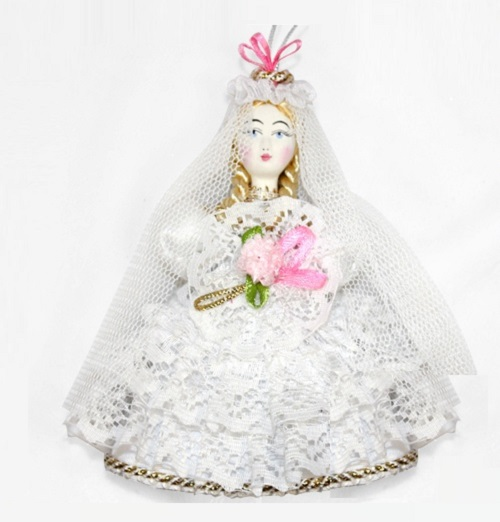 Bride. Christmas handmade decoration with the elements of the porcelain