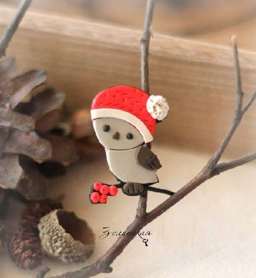 Brooch Christmas Sparrow. Made of polymer clay in the author's technique of patchwork modeling