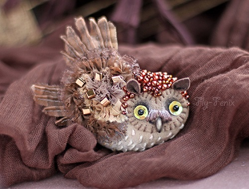 "Handmade brooch ""Little owl"""