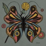 Butterfly. The composition in the circle. Painting by Moscow based Elina Forget-me-not