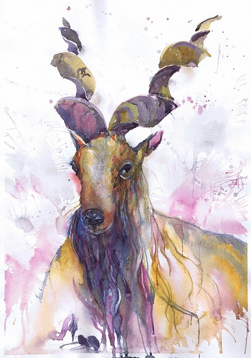 Capricorn, ValrArt watercolor portraits