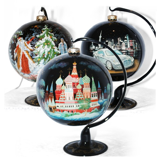 Christmas balls made in the traditional folk art of 'Palekh'