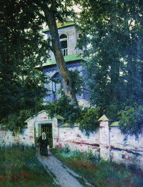 Church fence, 1905. Painting by Russian landscape painter Konstantin Kryzhitsky