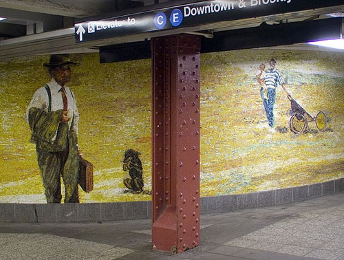 Circus of Earthly Delights. Mosaics by Eric Fischl. 34th Street Subway Station, NYC