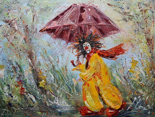 Clown with umbrella. Oil on canvas on cardboard