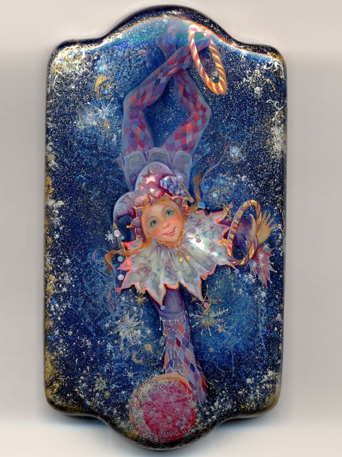 Clown. Lacquer miniature painting 'Fedoskino' by Lacquer miniature artist Yulia Danilina