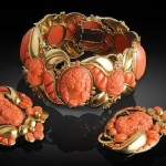 A set of Coral bracelet and earrings