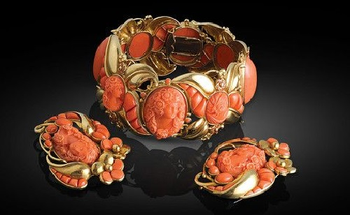 Coral jewelry art bracelet and earrings