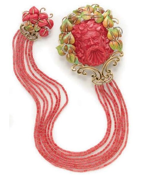 Coral, enamel, diamonds and gold