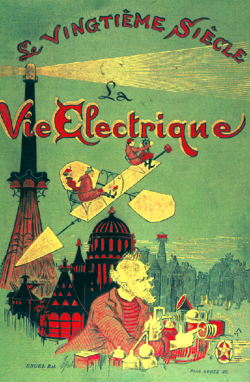 Coverage of the Twentieth Century or Electrical life cover illustration (1890). Artist predictor Albert Robida