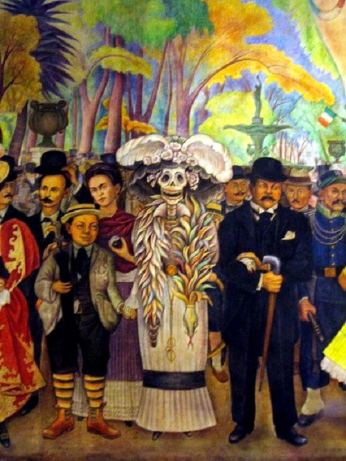 Day of the Dead in Mexico. Detail of painting by Diego Rivera 'Dream of a Sunday evening in Alameda Park'