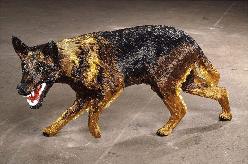A Dog, 2002. Glass beads on fiberglass and plaster, closeup