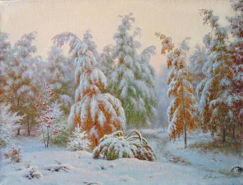Early snow. Painting by Viktor Tormosov