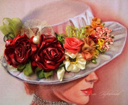 Ribbon painting by Ukrainian artist of applied art Tetiana Korobeinyk (Embroidery on Julia Vorontsova's prints)