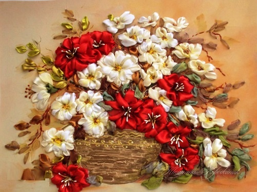 Ribbon painting by Ukrainian artist of applied art Tetiana Korobeinyk
