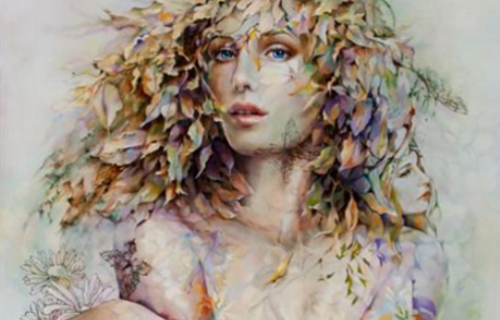 Female floral portrait by Chinese painter Wendy Ng