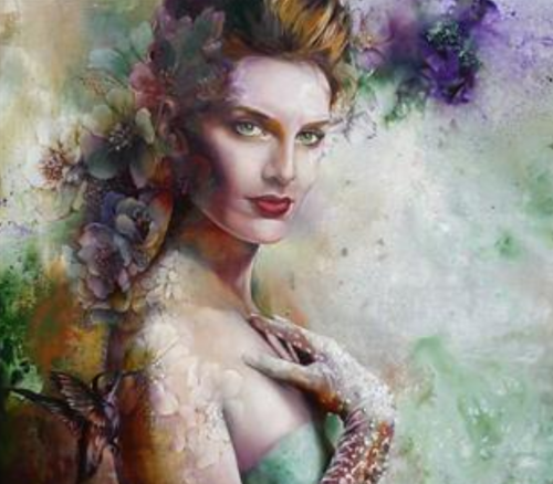 Stunningly beautiful female portraits decorated with floral patterns. Work by Chinese painter Wendy Ng
