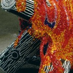 Fire. 2002. Glass beads on wood and plaster, closeup
