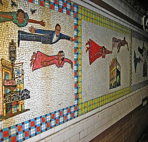 Flying Home - Harlem Heroes and Heroines (representatives of Arts). Harlem metro station mosaics by Faith Ringgold