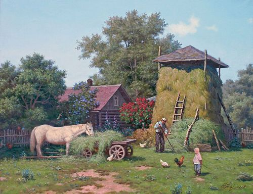 Fragrant hay, 2007. Painting by Viktor Tormosov