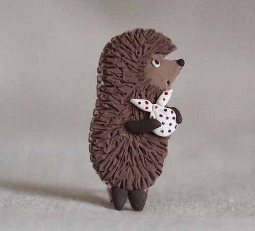 Hedgehog in winter. Art brooches by Gulnara Zelinskaya