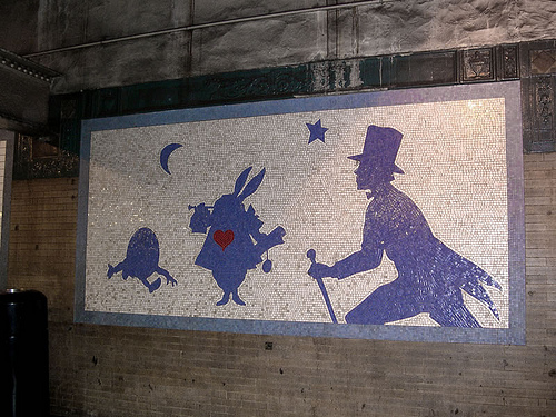 "Humpty Dumpty, the Herald, aka White Rabbit. ""Alice – The Way Out"". Mosaic mural by Liliana Porter, NYC Subway, 1994"