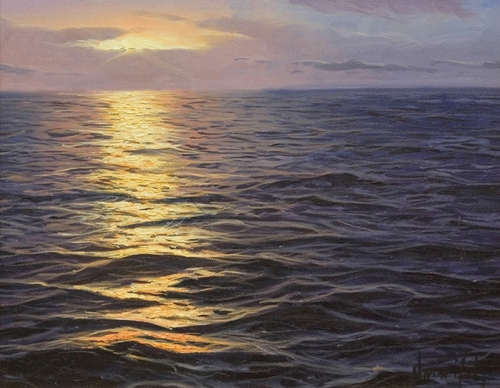 Seascape. Hyper realistic oil painting by Spanish artist Alfredo Navarro