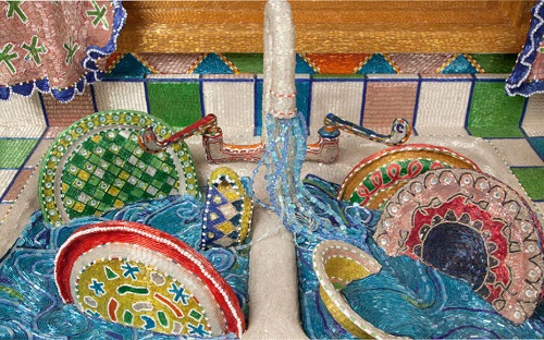 Fabulous Kitchen made entirely of beads, 1991 - 1996. detail