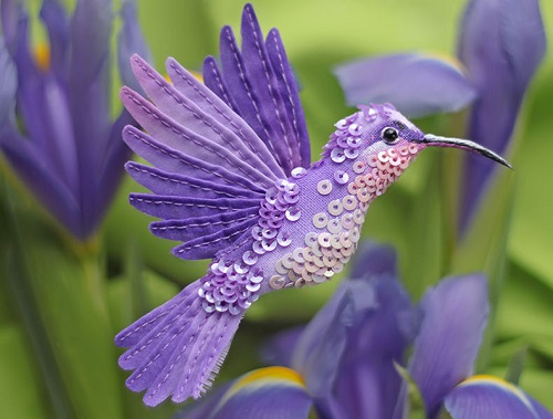 Miniature handmade brooch 'Purple Bird'