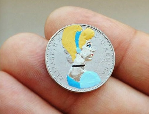 Miniature painting on coins. Art by Andre Levy