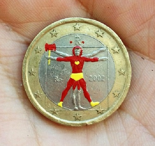 Miniature painting on coins. Controversial coin art by Andre Levy